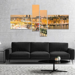 Designart 'Stockholm Cityscape Panorama' Cityscape Photo Canvas Print