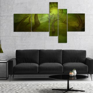 Designart 'Green Time Travel' Abstract Canvas art print