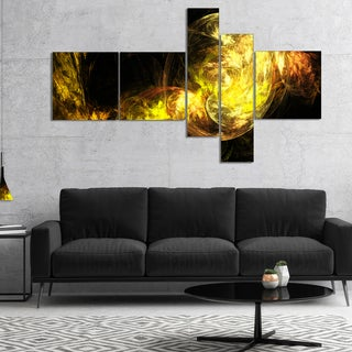 Designart 'Colored Smoke Golden' Abstract Canvas art print