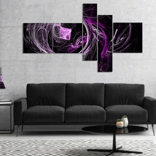 Designart 'Billowing Smoke Purple in Black' Abstract Canvas art print