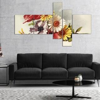 Designart 'Flowers Illustration' Floral Canvas Wall Art