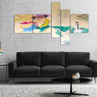 Designart 'Classical Chinese Painting' Abstract Canvas Art Print