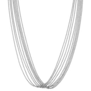 Fremada Italian Rhodium Plated Sterling Silver Multi Strand Bead Choker Necklace (adjusts from 13 - 15 inches)