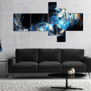Designart 'Colored Smoke Blue' Abstract Canvas art print