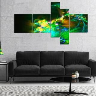 Designart 'Bright Green Fractal Flower in Dark' Floral Canvas Art print