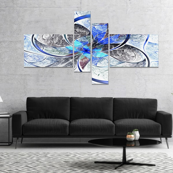 Designart 'Symmetrical Blue Fractal Flower' Abstract Print On Canvas