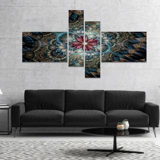Designart 'Dark Purple Fractal Flower' Large Floral Art Canvas Print