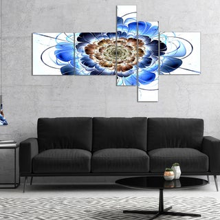 Designart 'Dark Blue Fractal Flower' Floral Art Canvas Print