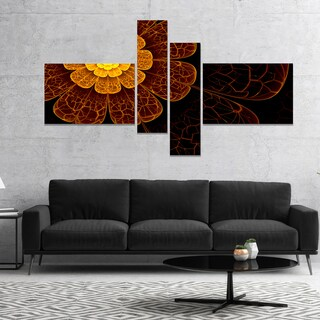 Designart 'Symmetrical Orange Fractal Flower' Floral Art Canvas Print