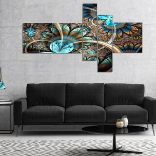 Designart 'Light Blue Fractal Flower' Floral Art Canvas Print
