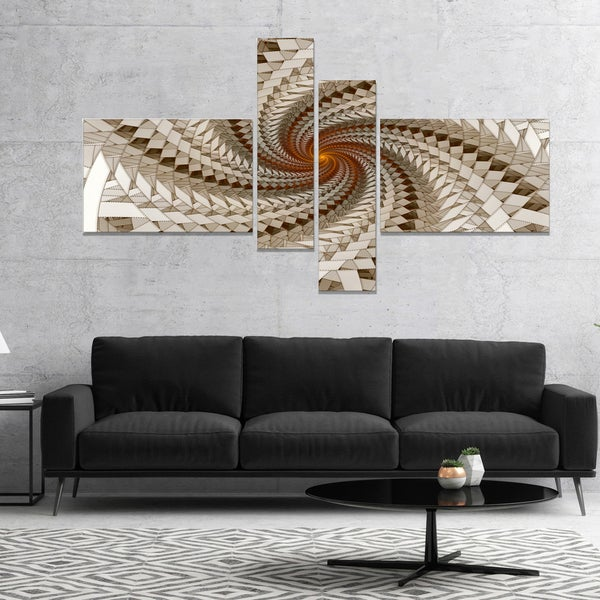 Designart 'White Fractal Spiral Pattern' Abstract Print On Canvas