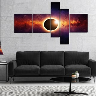 Shop Designart Full Eclipse View Large Spacescape Canvas
