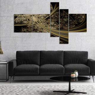 Designart 'White Metallic Fabric Pattern' Abstract Print On Canvas