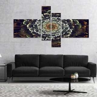 Designart 'Silver Metallic Fabric Flower' Abstract Print On Canvas