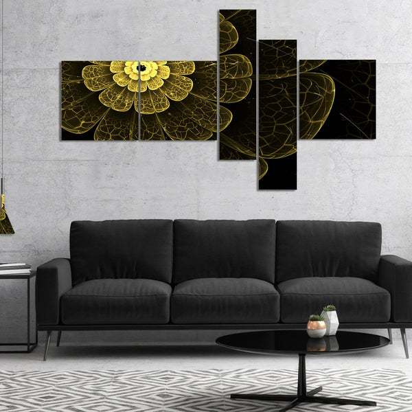 Designart 'Light Yellow Metallic Fabric Flower' Abstract Print On Canvas