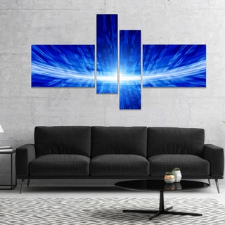 Designart 'Glowing Blue Lines' Abstract Canvas art print