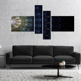 Designart 'Symmetrical Blue Silver Fractal Flower' Abstract Print On Canvas