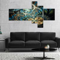 Designart 'Symmetrical Blue Gold Fractal Flower' Abstract Print On Canvas