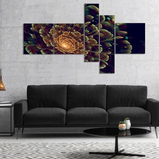 Designart 'Orange Metallic Fractal Flower' Abstract Print On Canvas