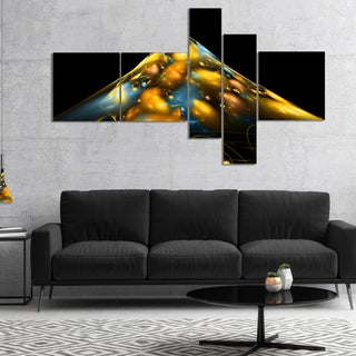 Designart 'Fractal Golden Blue Structure' Abstract Canvas Art Print