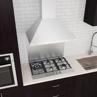 Ancona 36 in. Wall Mounted Range Hood Pyramid Style in White