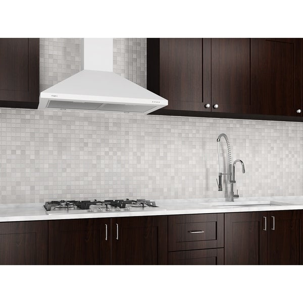 Ancona 30 in. Wall Mounted Range Hood Pyramid Style in White