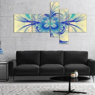 Designart 'Blue Fractal Flower Pattern' Floral Art Canvas Print