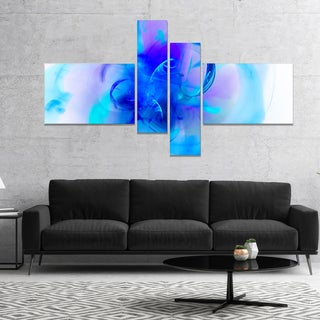 Designart 'Fractal Blue 3D Art' Floral Art Canvas Print