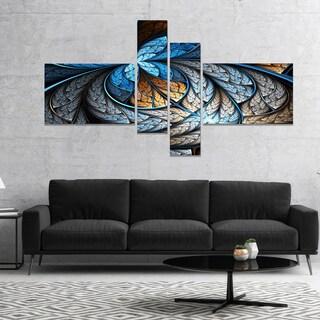 Designart 'Blue Brown Fractal Flower Pattern' Floral Art Canvas Print