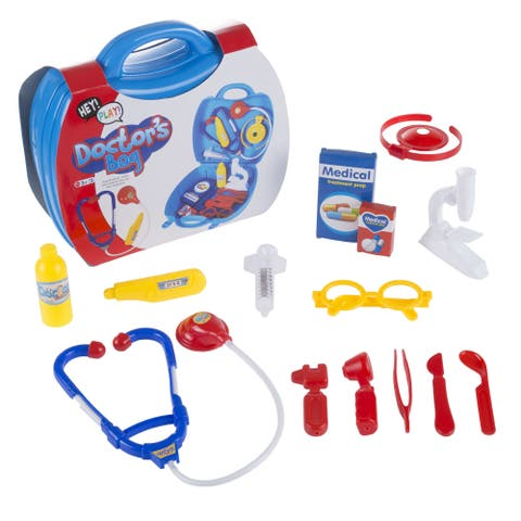 Hey! Play! 15-piece Complete Pretend Play Doctor Toy Set Including Carrying Case