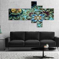 Designart 'Fractal Dark Orange Blue Flowers' Floral Art Canvas Print