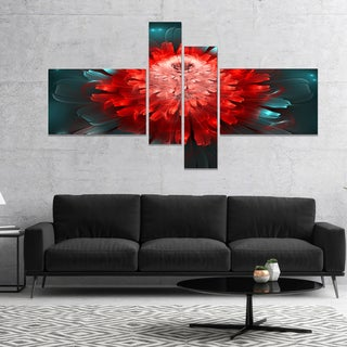 Designart 'Fractal Red N Blue Flower' Floral Art Canvas Print
