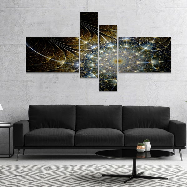 Designart 'Symmetrical Brown Fractal Flower' Abstract Print On Canvas