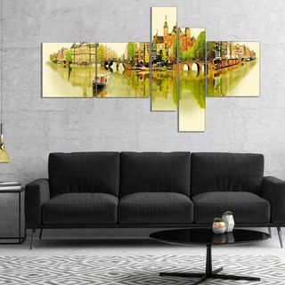 Designart 'Amsterdam Panoramic View' Cityscape Watercolor Canvas Print