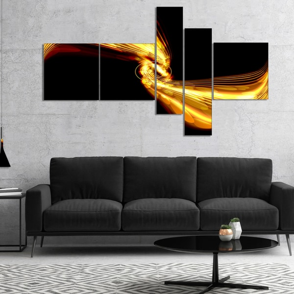 Designart 'Glowing Golden Lines and Circles' Large abstract art