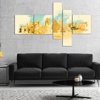 Designart 'Cairo Panoramic View' Cityscape Watercolor Canvas Print