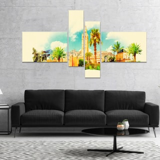 Designart 'Marakesh Panoramic View' Cityscape Watercolor Canvas Print