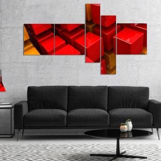 Designart 'Fractal 3D Red N Yellow Cubes' Abstract Canvas Art Print