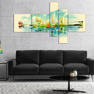 Designart 'Shanghai Panoramic View' Cityscape Watercolor Canvas Print