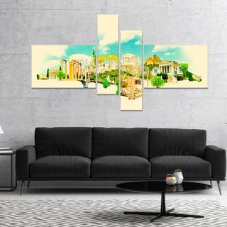Designart 'Athens Panoramic View' Cityscape Watercolor Canvas Print
