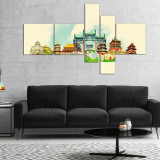 Designart 'Beijing Panoramic View' Cityscape Watercolor Canvas Print