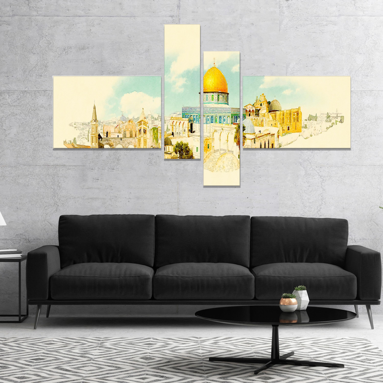Designart Jerusalem Panoramic View Cityscape Watercolor Canvas Print Beige On Sale Overstock 17012914