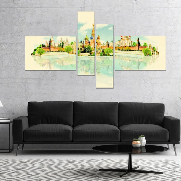 Designart 'Moscow Panoramic View' Cityscape Watercolor Canvas Print