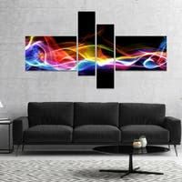 Designart 'Blue Yellow Waves in Black' Abstract Canvas art print