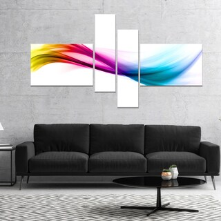 Designart 'Rainbow Shade Waves' Abstract Canvas art print