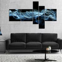 Designart 'Blue Smoke in Black' Abstract Canvas art print