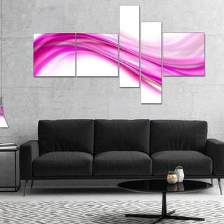 Designart 'Pink Abstract Waves' Abstract Canvas art print