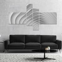 Designart 'Fractal Bulgy White 3D Waves' Abstract Canvas Art Print