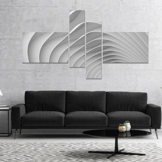 Designart 'Fractal Bulgy White 3D Waves' Abstract Canvas Art Print