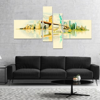 Designart 'New York Panoramic View' Cityscape Watercolor Canvas Print